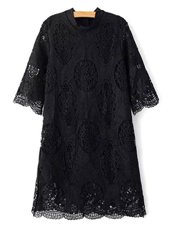 A cielo abierto del collar del soporte del cordón del vestido de la manga 3/4 - Negro M