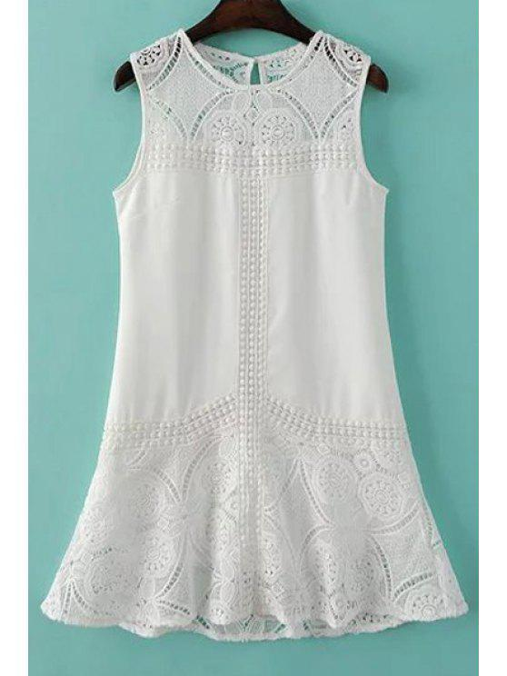 hot Lace Spliced Round Collar Sleeveless Dress - WHITE L