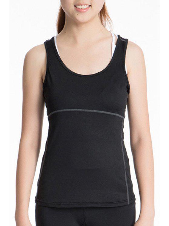 ladies Exposed Seams Sports Tank Top - BLACK XL