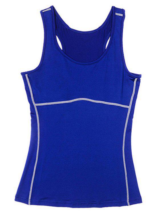 Débardeur actif U Neck Yoga Stretchy pour les femmes - Bleu XL