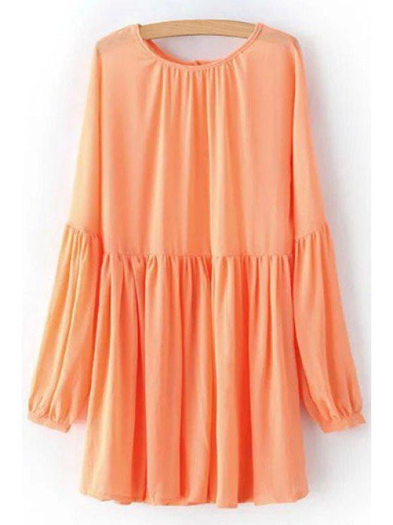 fancy Solid Color Round Neck Long Sleeve Chiffon Dress - ORANGEPINK S