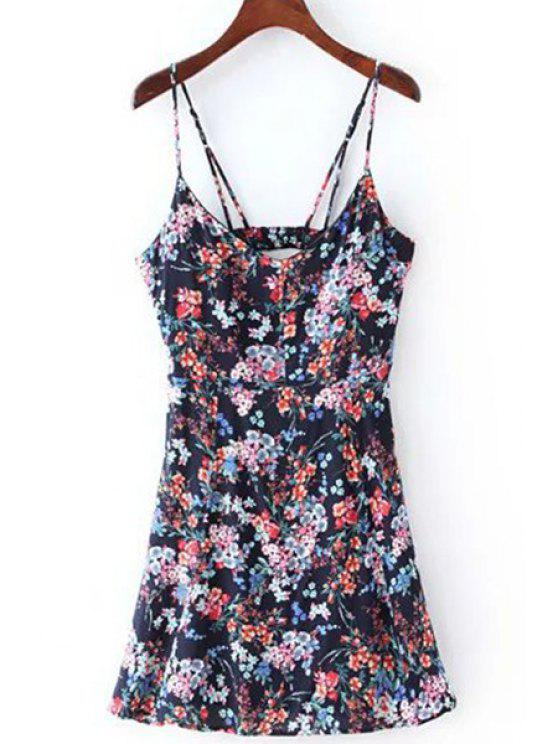 Impresión floral vestido de Cami - Azul Purpúreo L