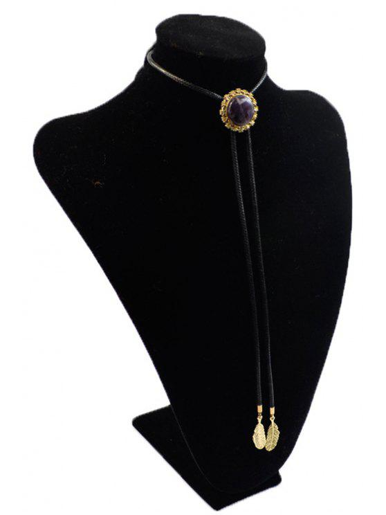 lady Round Stone Tie Shape Necklace - BLACK