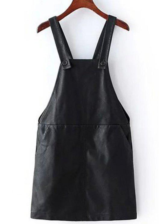 womens PU Leather Two Pockets Suspender Skirt - BLACK M