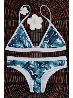Traje De Bikini Con Estampado De Hoja Con Tiro Alto - M