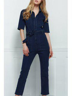 Denim Patch Pocket Flared Jumpsuit - Deep Blue S