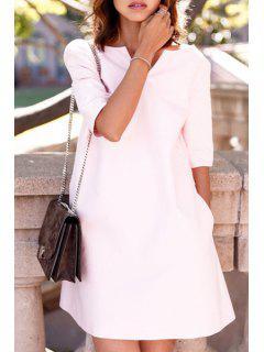 Pink String V Neck Half Sleeve Dress - Light Pink M