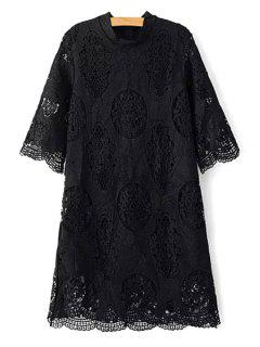 Openwork Stand Collar 3/4 Sleeve Lace Dress - Black M