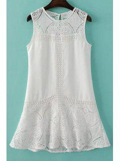 Lace Spliced Round Collar Sleeveless Dress - White L