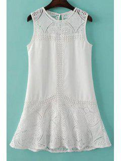 Encaje Empalmado Cuello Redondo Vestido Sin Mangas - Blanco L