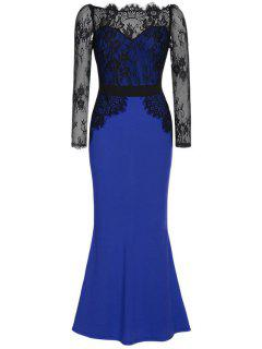 Sheer Sleeve Combined Lace Mermaid Formal Dress - Blue