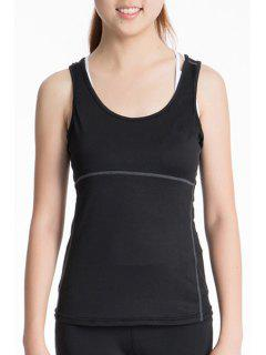 Exposed Seams Sports Tank Top - Black Xl
