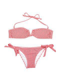 Halter Croatia National Flag Pattern Bikini Set - Light Red L