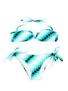 Halter Ombre Plaid Print Bikini Set - Light Green L