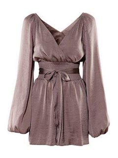 Solid Color Plunging Neck Long Sleeves Romper - Dun S