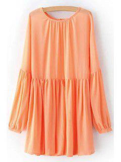 Solid Color Round Neck Long Sleeve Chiffon Dress - Orangepink L