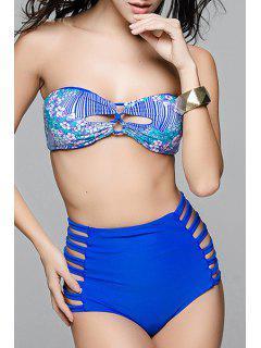 Cut Out High Waisted Bandeau Bikini Set - Sapphire Blue S