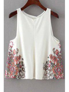Loose Floral Print Round Neck Chiffon Tank Top - White L