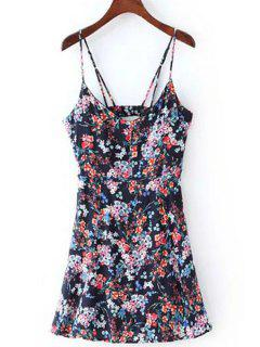 Floral Print Cami Dress - Purplish Blue L