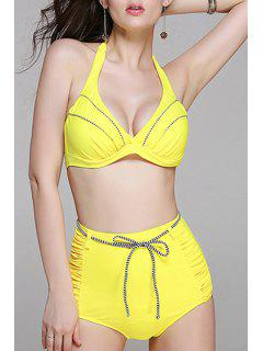 High Waisted Halter Bikini Set - Yellow L