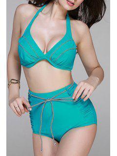 High Waisted Halter Bikini Set - Lake Blue 2xl