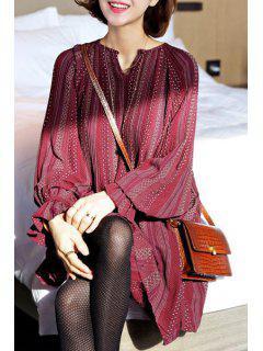 Lunar De Impresión De Vestir De Manga Larga De Cuello Redondo - Vino Rojo