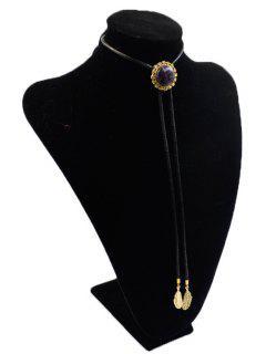 Round Stone Tie Shape Necklace - Black