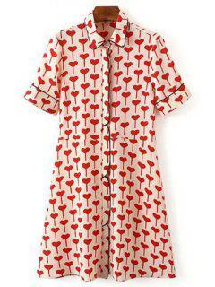 Short Sleeve Red Heart Shirt Dress - Red L