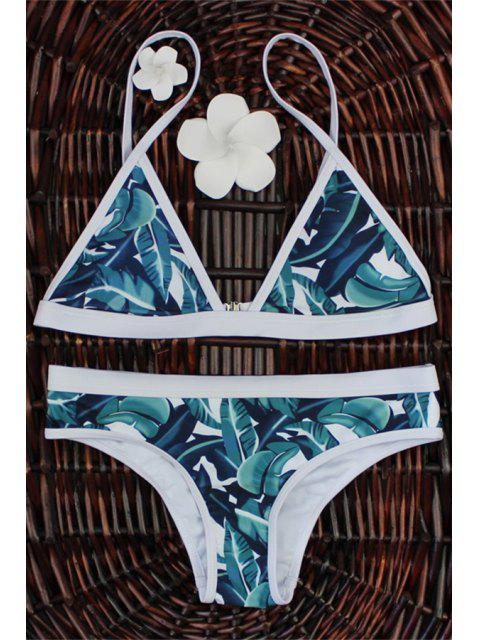 affordable High-Cut Leaf Print Bikini Set - COLORMIX M Mobile