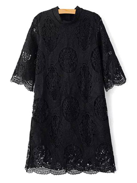 Ajouré stand Collar 3/4 Robe en dentelle à manches - Noir M Mobile