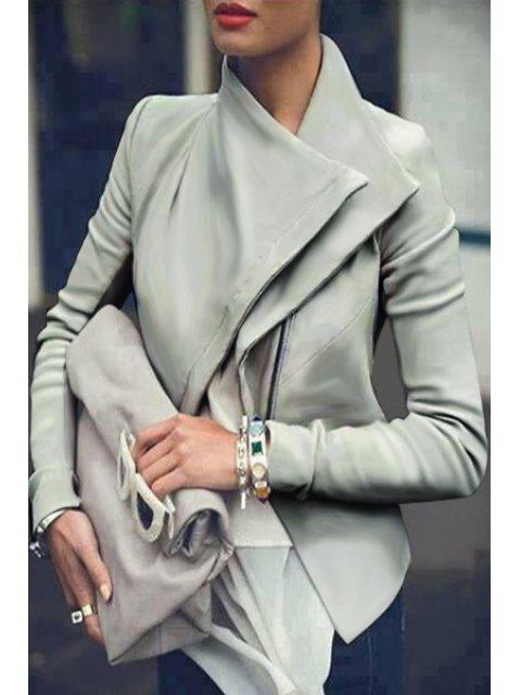unique Chic Solid Color PU Leather Long Sleeves Jacket - SILVER XL Mobile
