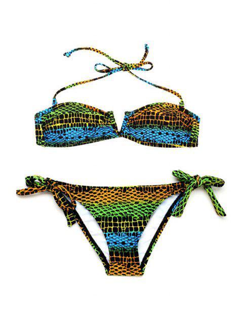 sale Bandeau Halter String Bikini Set - COLORMIX S Mobile