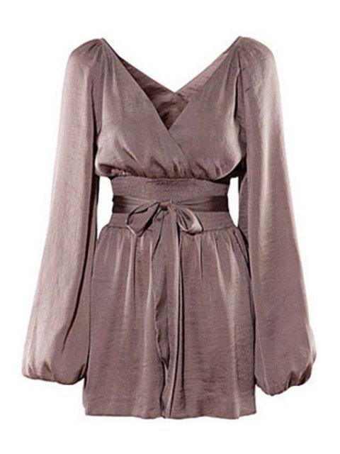 new Solid Color Plunging Neck Long Sleeves Romper - DUN M Mobile