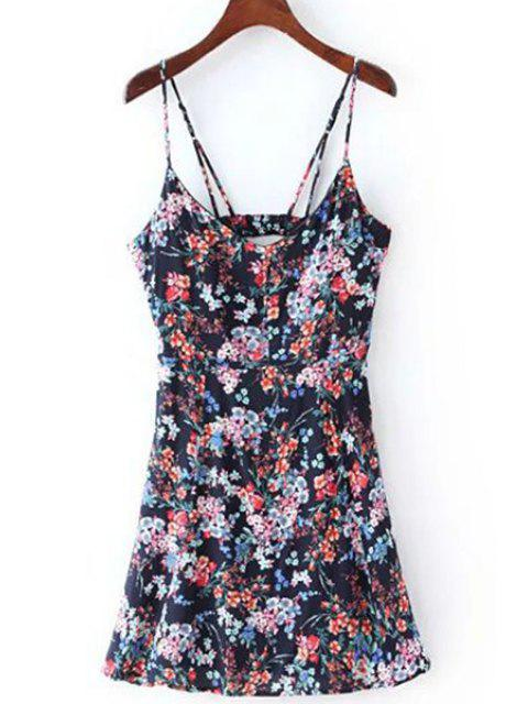 best Floral Print Cami Dress - PURPLISH BLUE L Mobile