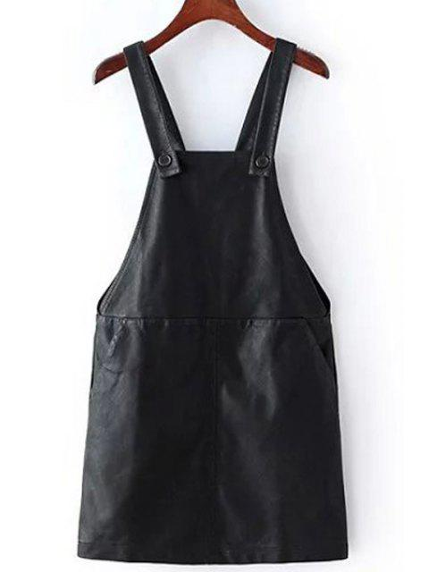 womens PU Leather Two Pockets Suspender Skirt - BLACK M Mobile