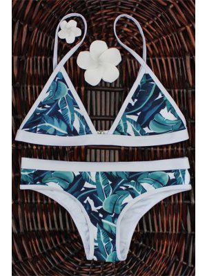 High-Cut Leaf Print Bikini Set - M