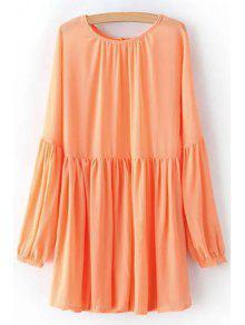 Solid Color Round Neck Long Sleeve Chiffon Dress - Orangepink L