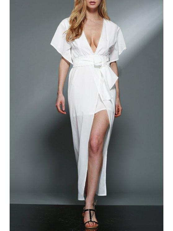 Hundiendo cuello en capas de gasa blanco vestido - Blanco XL
