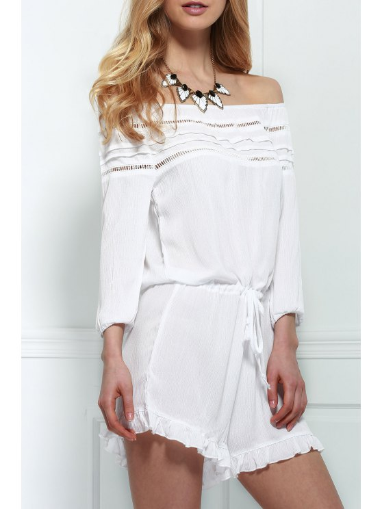 online Off-The-Shoulder Drawstring Design Romper - WHITE S