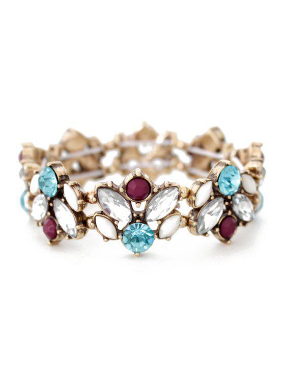 women Faux Crystal Floral Cuff Bracelet - COLORMIX