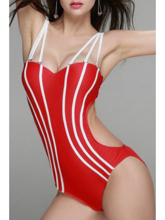 Sin espalda tirantes de espagueti una pieza de baño - Rojo S