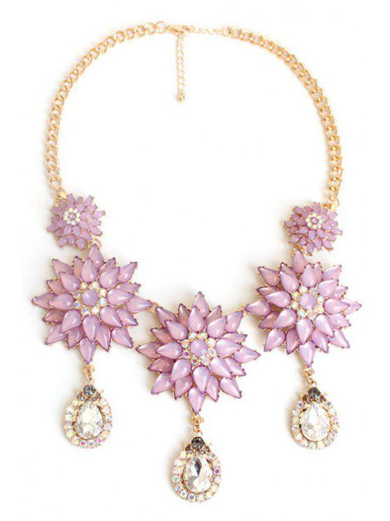 trendy Exquisite Floral Pendant Necklace - PURPLE