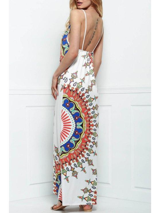latest Printed Silky Beach Dress - WHITE L