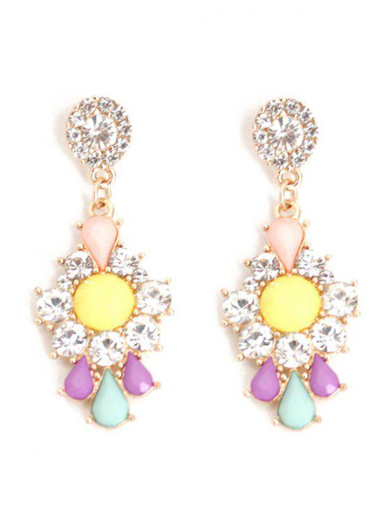 women's Rhinestone Floral Drop Earrings - COLORMIX