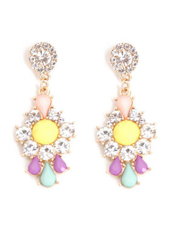 women's Rhinestone Floral Drop Earrings - COLORMIX