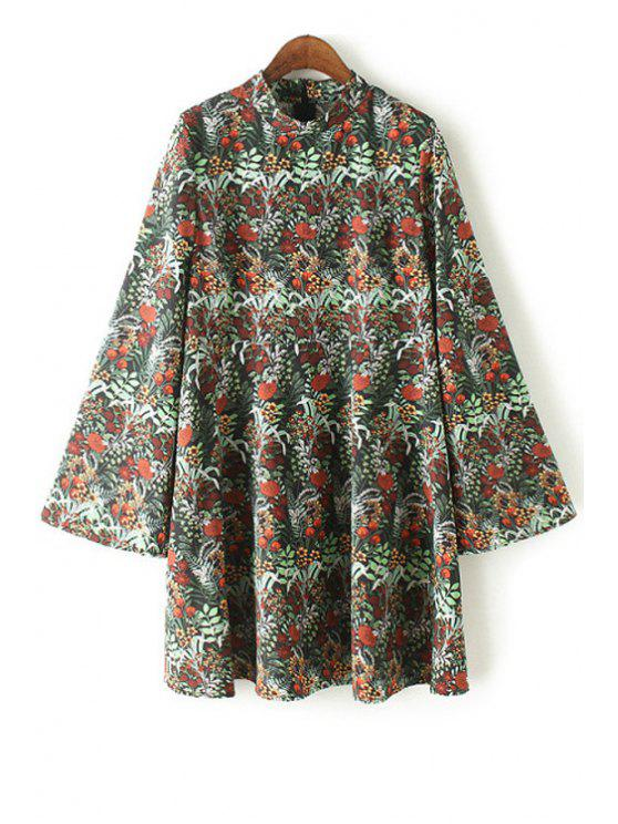 trendy Floral Print Stand Collar Bell Sleeve Dress - GREEN XL