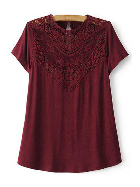 sale Lace Spliced Round Collar Short Sleeve T-Shirt - WINE RED M