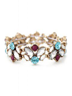 Faux Crystal Floral Cuff Bracelet