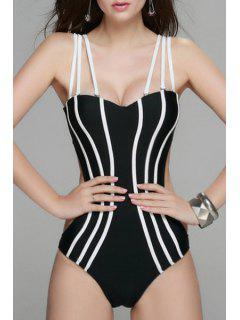 Backless Spaghetti Straps One Piece Swimwear - Black L