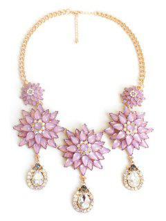 Exquisite Floral Pendant Necklace - Purple